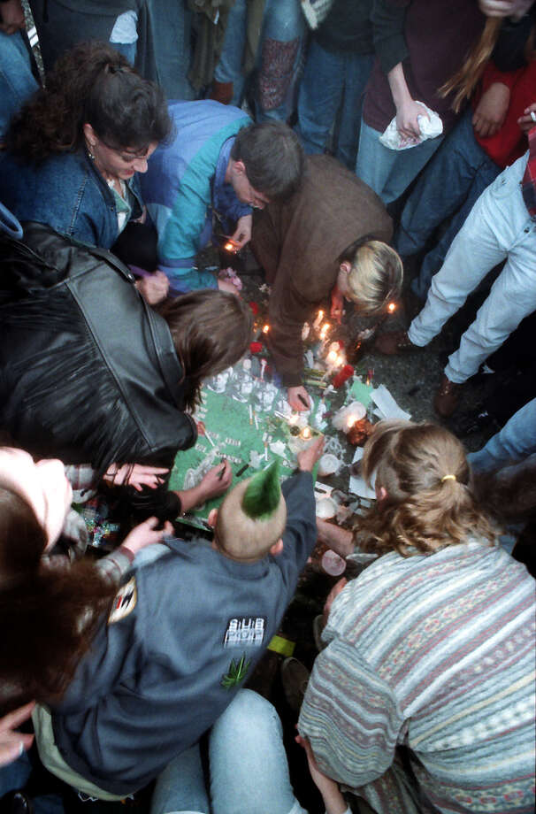 This previously unpublished frame shows a crowd at the April 10, 1994 public memorial for Kurt Cobain, which was held at Seattle Center. Photo: P-I Staff Photographer/Copyright MOHAI, Seattle Post-Intelligencer Collection, 2000.107_19940410_0070.
