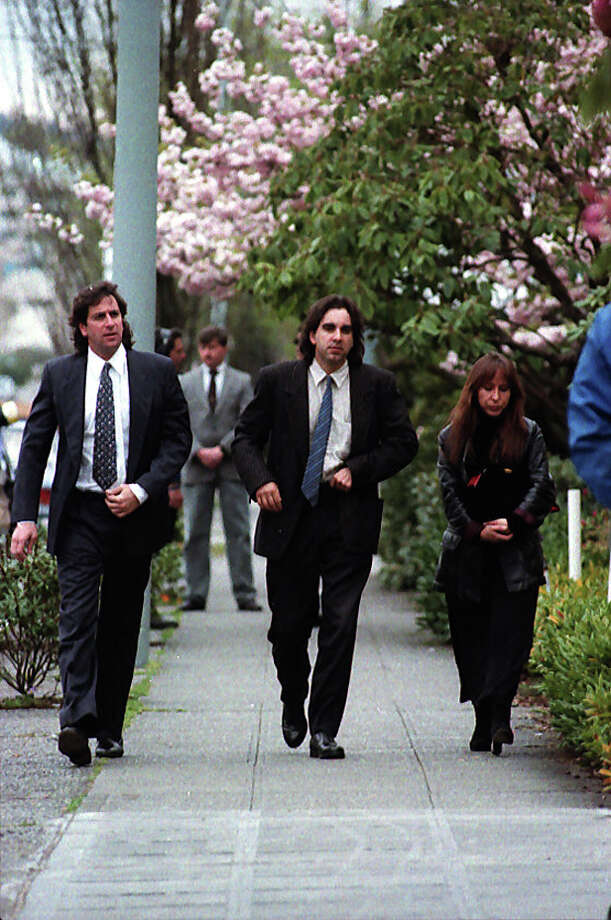 Friends of Nirvana singer Kurt Cobain arrive at a memorial, April 10, 1994. Photo: P-I Staff Photographer/Copyright MOHAI, Seattle Post-Intelligencer Collection, 2000.107_19940410_0089.