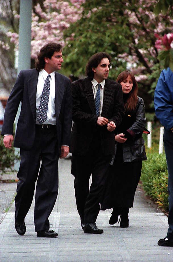 Friends of Nirvana singer Kurt Cobain arrive at a memorial, April 10, 1994. Photo: P-I Staff Photographer/CopyrightMOHAI, Seattle Post-Intelligencer Collection, 2000.107_19940410_0093.