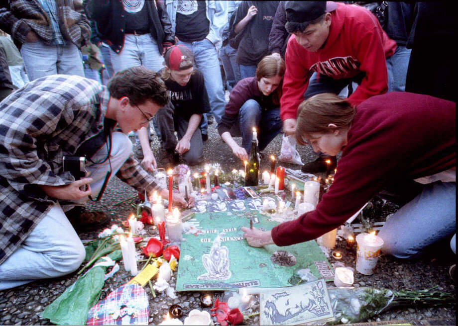 The April 10, 1994 memorial for Kurt Cobain at Seattle Center. Photo: Seattlepi.com File