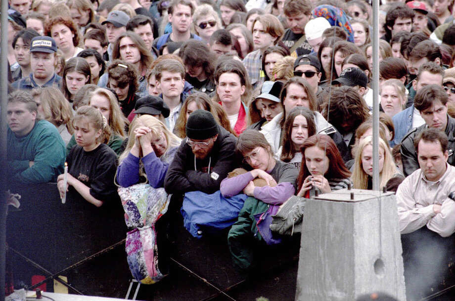 The April 10, 1994, memorial for Kurt Cobain at Seattle Center. Photo: Seattlepi.com File