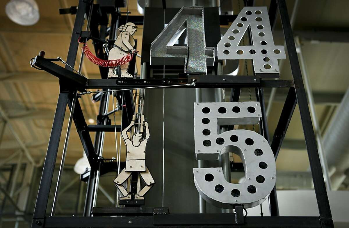 The Tinkerer's Clock at the Exploratorium, seen on Monday, March 25, 2013 in San Francisco, Calif., is set to chime on the quarter hour.