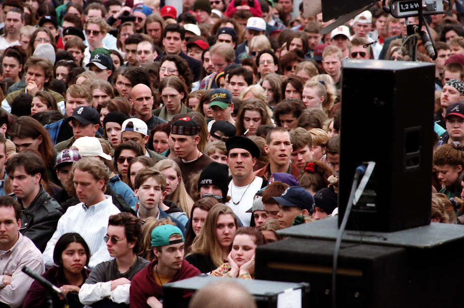 A previously unpublished image of the crowd at the April 10, 1994, public memorial for Kurt Cobain. The image was taken at Seattle Center. Photo: P-I Staff Photographer/CopyrightMOHAI, Seattle Post-Intelligencer Collection, 2000.107_19940410_0056.