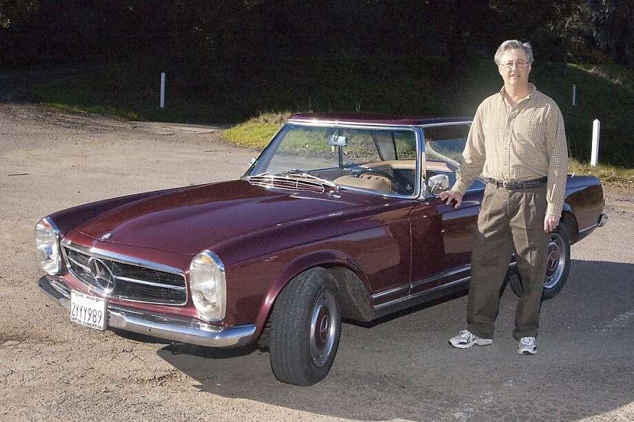"""'For my fortieth birthday, my wife Linda bought me a 1964 Mercedes 230 SL Roadster at an auction in the South Bay. I needed a convertible for my early mid-life crisis, and I liked the """"pagoda""""-style roof.' Photo: Stephen Finerty"""