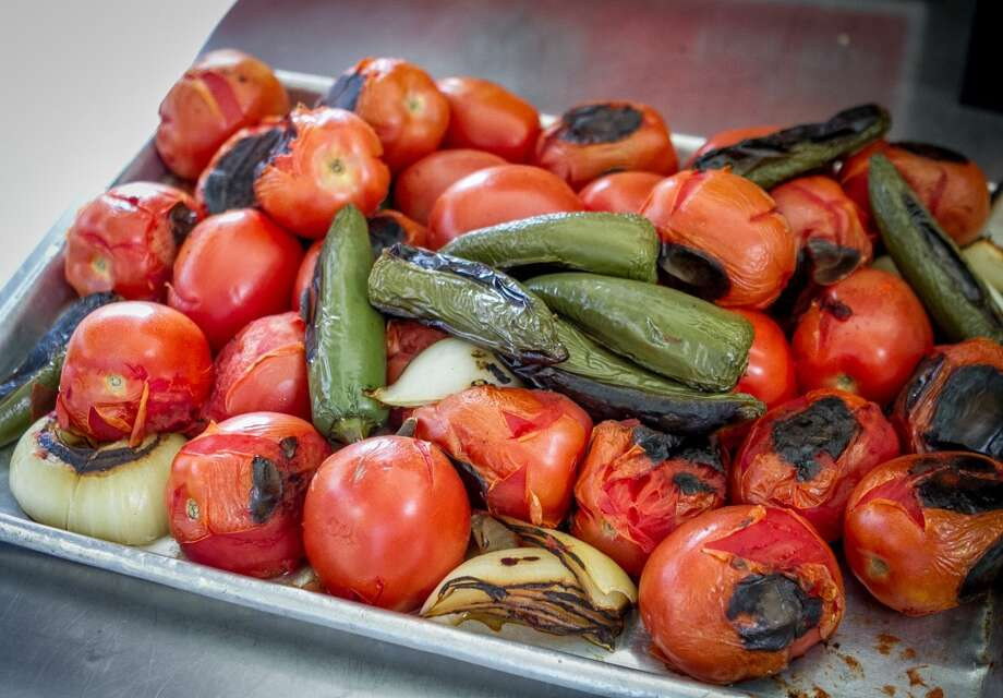 Roasted Tomatoes, Jalapeños, and Onions for Salsa at El Aguila.