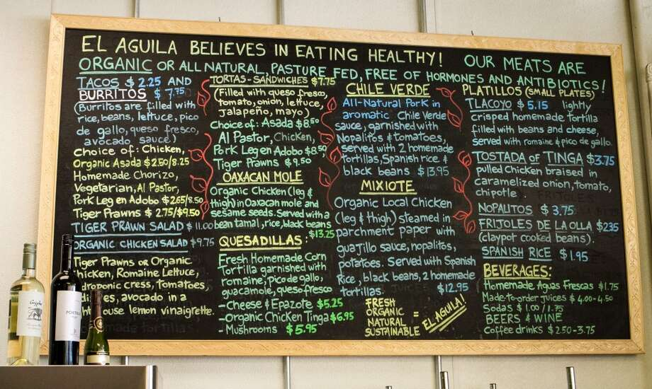 The menu board at El Aguila Mexican Cuisine in Pleasant Hill.