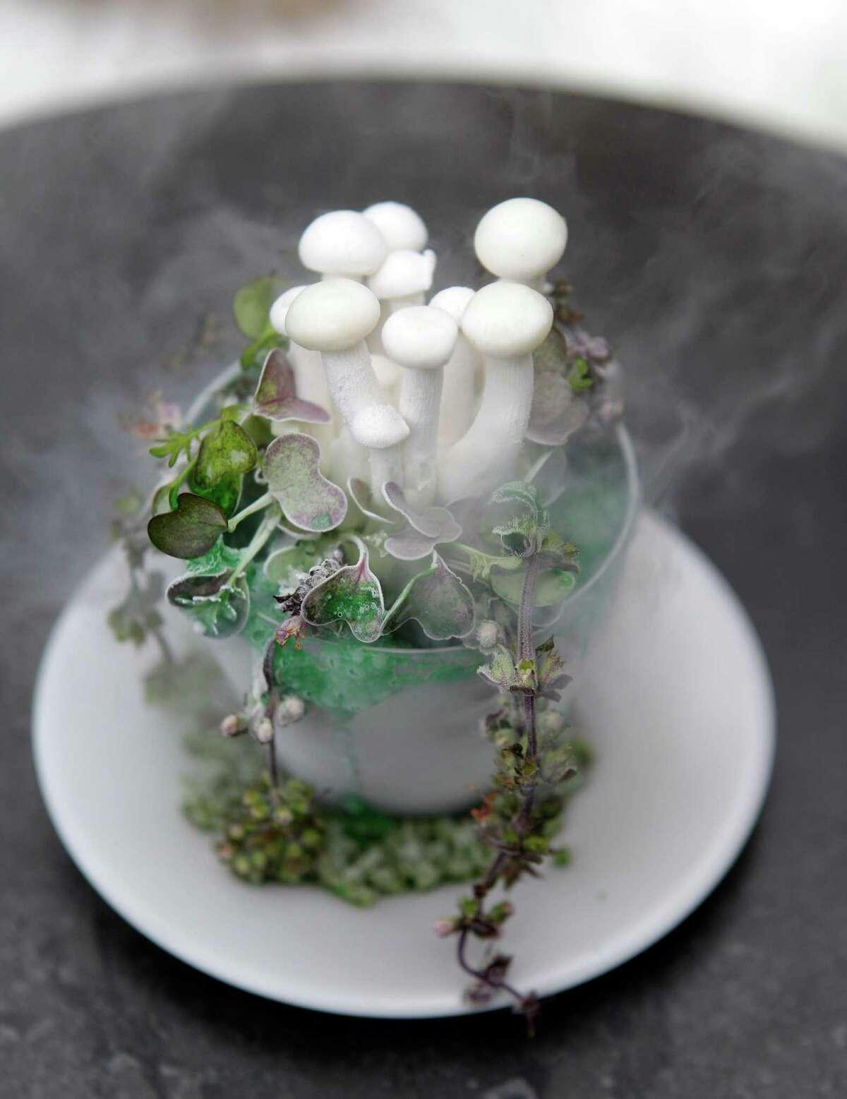 Liquid nitrogen-frozen beech mushrooms with green onion foam by Edwards