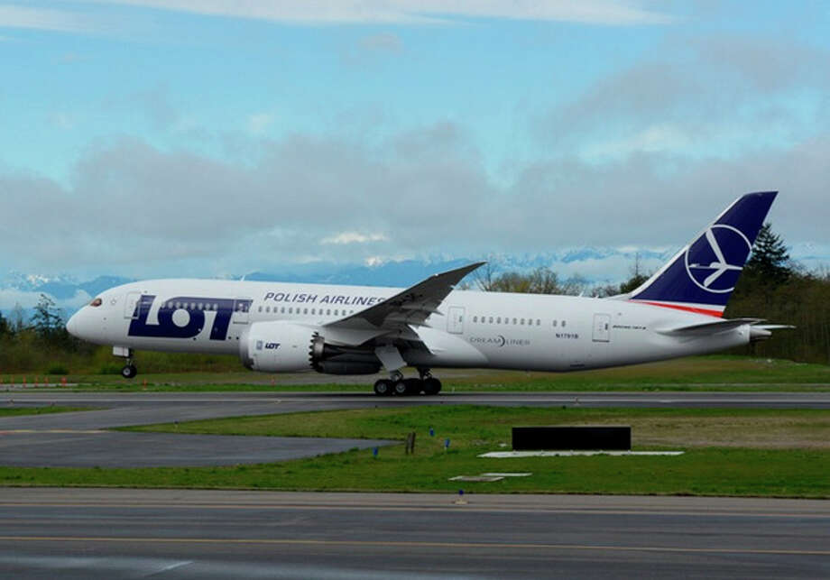 The first Boeing 787 with a new battery system takes off on a certification flight for the system on April 5, 2013 from Paine Field, in Everett. Photo: The Boeing Co.
