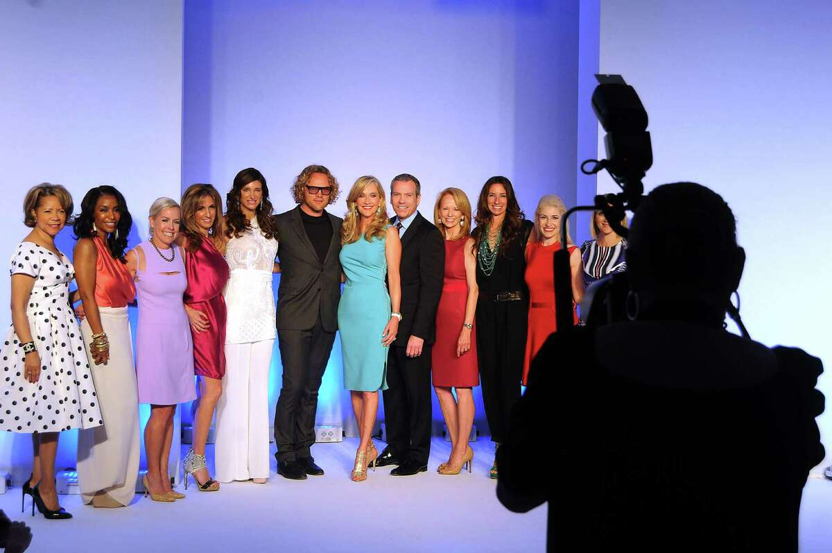 Merele Yarborough, Tiffany Avery Smith, Rosemary Schatzman, Sima Ladjevardian, Melissa Mithoff, Pucci designer Peter Dundas, luncheon chair Jana Arnoldy, Neiman Marcus' Bob Devlin, Susan Krohn, Lisa Holthouse, Isabel David and Stephanie Cockrell posed for pictures onstage at the Houston Chronicle Best Dressed luncheon.