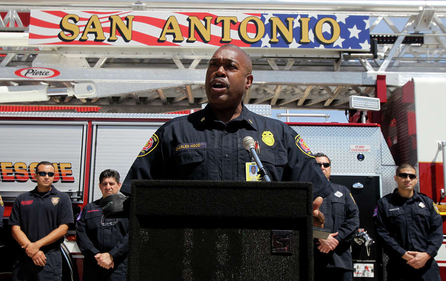 San Antonio Fire Chief Charles Hood speaks Friday April 5, 2013 at Fire Station number one about the San Antonio Fire Department's recent acquisition of three new fire trucks. Photo: JOHN DAVENPORT, SAN ANTONIO EXPRESS-NEWS / ©San Antonio Express-News/Photo may be sold to the public