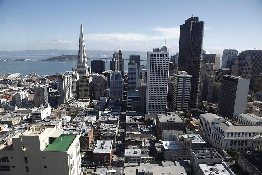 The San Francisco skyline is seen from the Crown Room of the Fairmont Hotel on Monday, Feb. 27, 2012. Photo: Russell Yip, The Chronicle