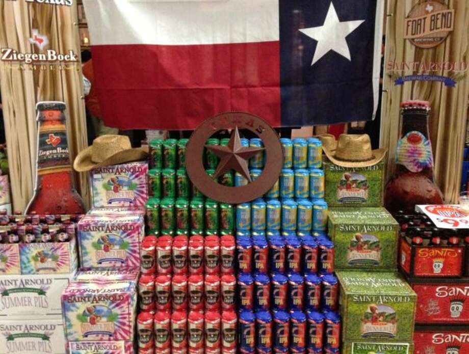 Houston breweries Saint Arnold and Karbach share space at the main Texas display.