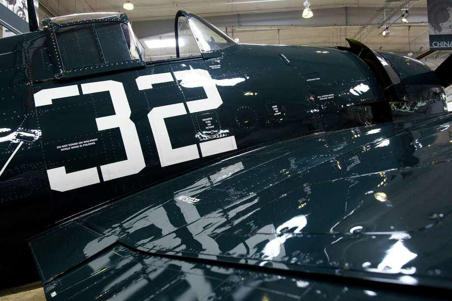 The previous photo shows the Flying Heritage Collection's Grumman F6F-5 Hellcat in the collection's original hangar in 2009. This shot, from April 5, 2013, shows it in the collection's new Hangar 2. Photo: JORDAN STEAD / SEATTLEPI.COM