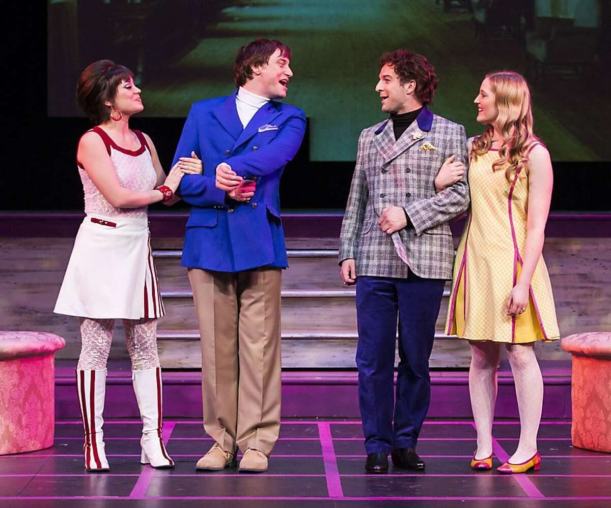 Gwendolen (Mindy Lym, left) Jack (Hayden Tee), Algernon (Euan Morton) and Cecily (Riley Krull) sort out issues of romance and fashion in TheatreWorks' world premiere of