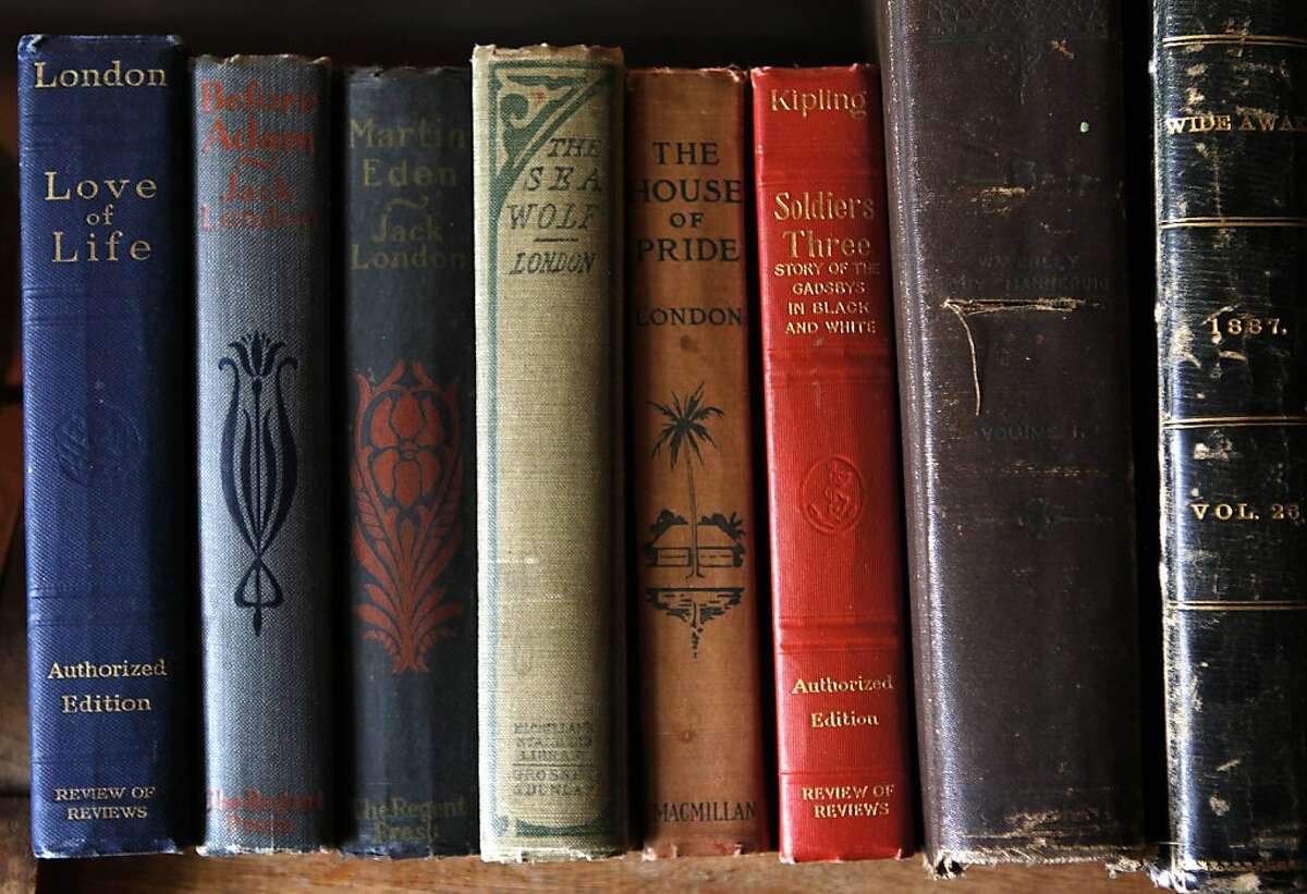 Copies of novels written by Jack London are displayed in the study where the author did much of his writing in Glen Ellen, Calif. on Friday, April 5, 2013.