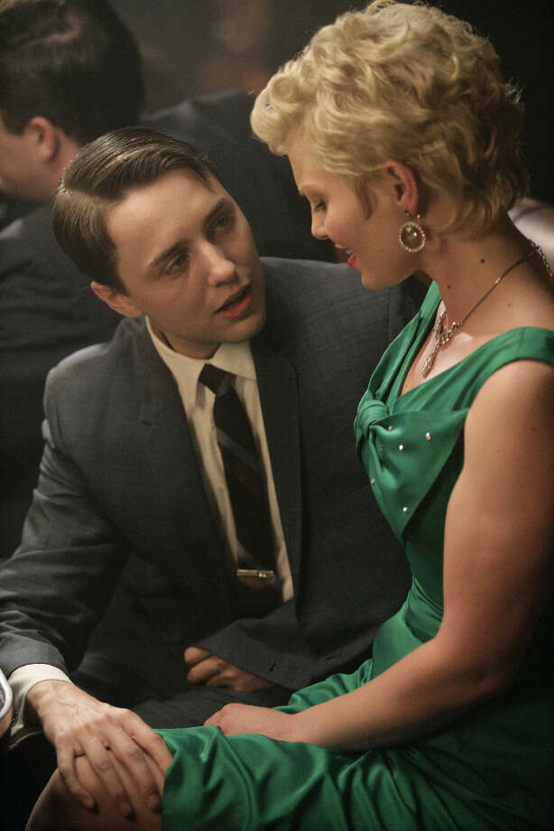 During his bachelor party, Pete Campbell (Vincent Kartheiser) finds new companionship (Heather Klar).