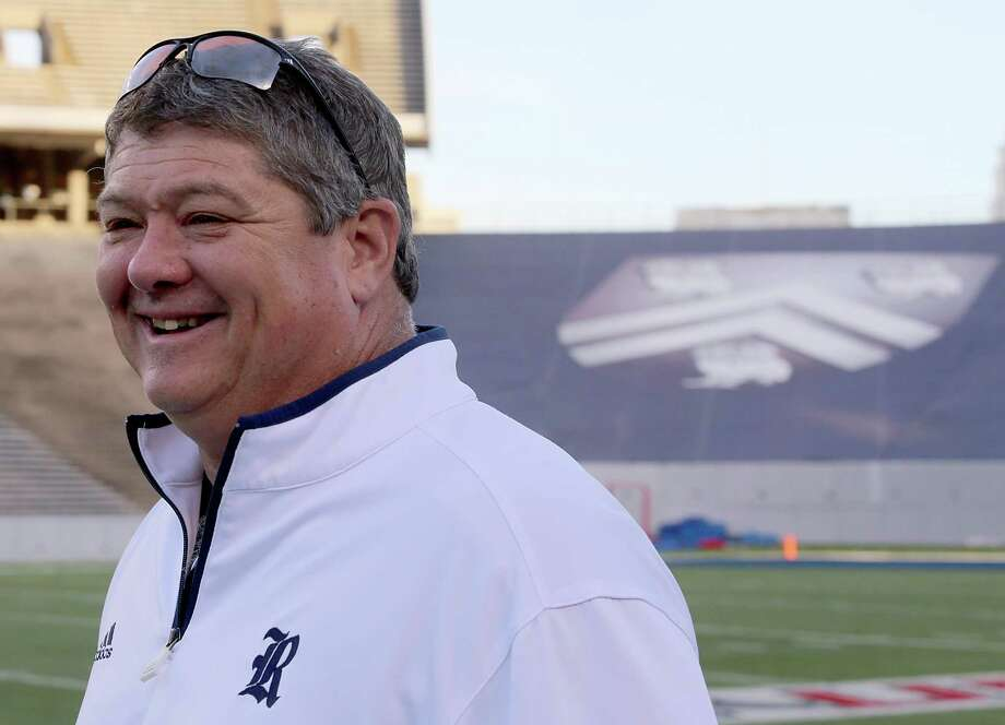 Rice coach David Bailiff was all smiles before the Owls' spring game. Photo: Thomas B. Shea, For The Chronicle / © 2013 Thomas B. Shea