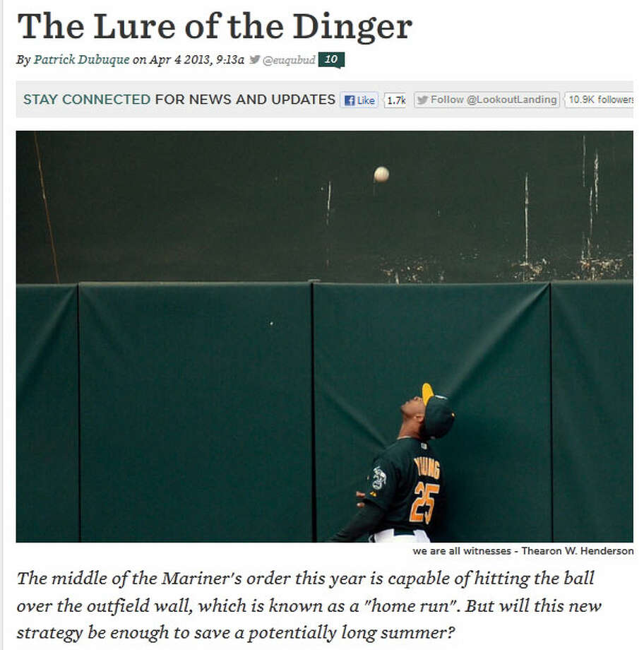 Lookout Landing  On this entertaining SB Nation blog, Patrick Dubuque of Lookout Landing also wrote about Michael Morse and what he means to Mariners fans as a slugger. \'\'I\'m more interested in the idea of Mike Morse, the Platonic Form of Mike Morseness that Mike Morse happens to best represent,\'\' Dubuque wrote.