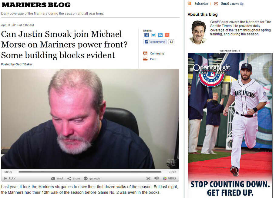 The Seattle TimesM\'s beat writer Geoff Baker, of The Seattle Times (subscription required), wrote about the apparent improvement of first baseman Justin Smoak, who so far has been a dud since he was the crown jewel of the 2010 Cliff Lee trade to the Rangers. The biggest indicator, according to Baker? Smoak is drawing walks.