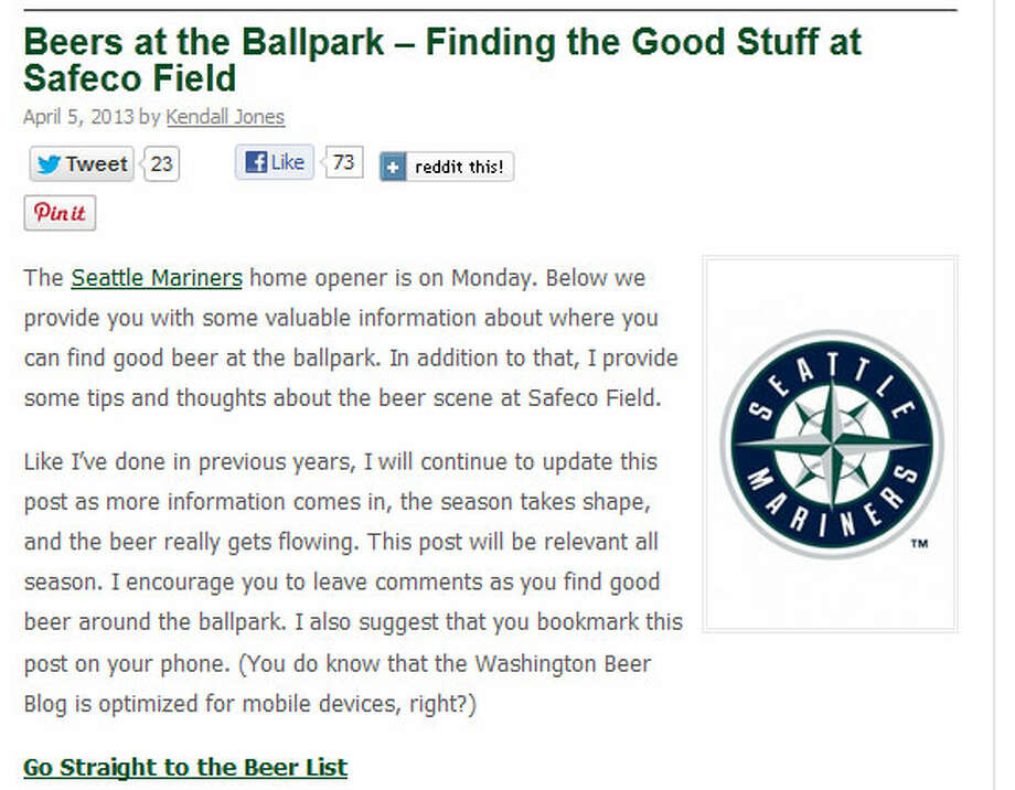 Washington Beer Blog  As M\'s fans get ready for this Monday\'s home opener, Kendall Jones of the Washington Beer Blog took the opportunity to write about all the great beers that are available at Safeco Field. What\'s baseball without an expensive beer?
