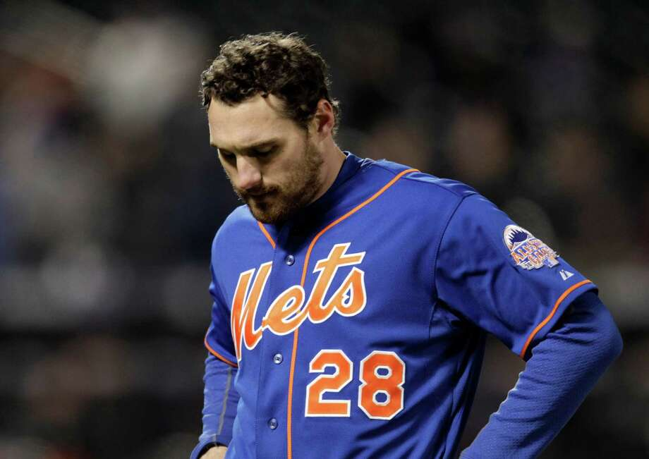 New York Mets' Daniel Murphy reacts after grounding out with the bases loaded in the eighth inning against the Miami Marlins in a baseball game at Citi Field, Friday, April 5, 2013, in New York. (AP Photo/Mark Lennihan) Photo: Mark Lennihan