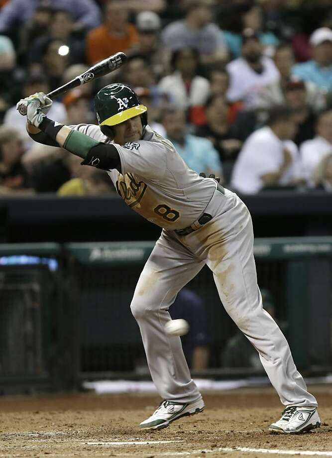 Oakland Athletics' Jed Lowrie dodges a pitch in the fifth inning of a baseball game against the Houston Astros Friday, April 5, 2013, in Houston. (AP Photo/Pat Sullivan) Photo: Pat Sullivan, Associated Press