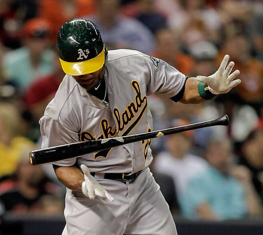 HOUSTON, TX - APRIL 05:  Chris Young #25 of the Oakland Athletics attempts to hold his swing at bat against the Houston Astros at Minute Maid Park on April 5, 2013 in Houston, Texas.  (Photo by Bob Levey/Getty Images) Photo: Bob Levey, Getty Images