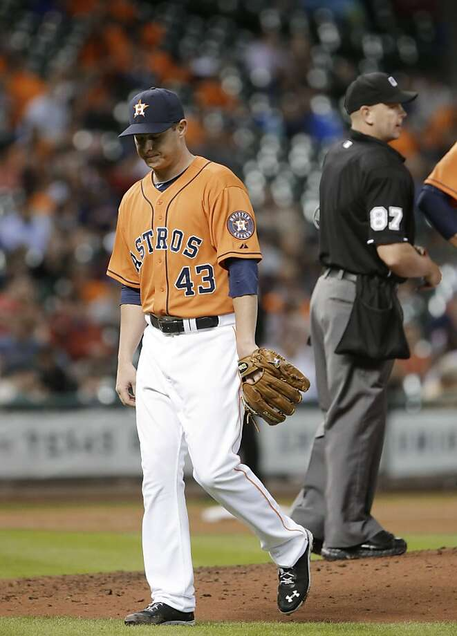 Houston Astros starting pitcher Brad Peacock leaves the baseball game against the Oakland Athletics in the fifth inning Friday, April 5, 2013, in Houston. (AP Photo/Pat Sullivan) Photo: Pat Sullivan, Associated Press