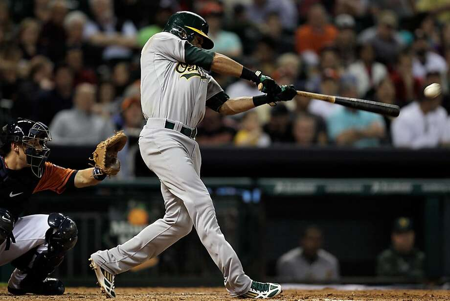 HOUSTON, TX - APRIL 05: Coco Crisp #4 of the Oakland Athletics doubles in the fifth inning against the Oakland Athletics at Minute Maid Park on April 5, 2013 in Houston, Texas.  (Photo by Bob Levey/Getty Images) Photo: Bob Levey, Getty Images