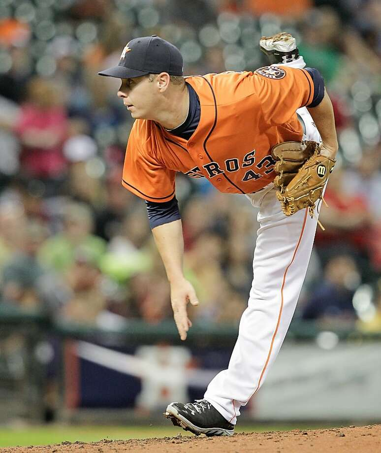 HOUSTON, TX - APRIL 05: Brad Peacock #43 of the Houston Astros throws against the Oakland Athletics at Minute Maid Park on April 5, 2013 in Houston, Texas. (Photo by Bob Levey/Getty Images) Photo: Bob Levey, Getty Images