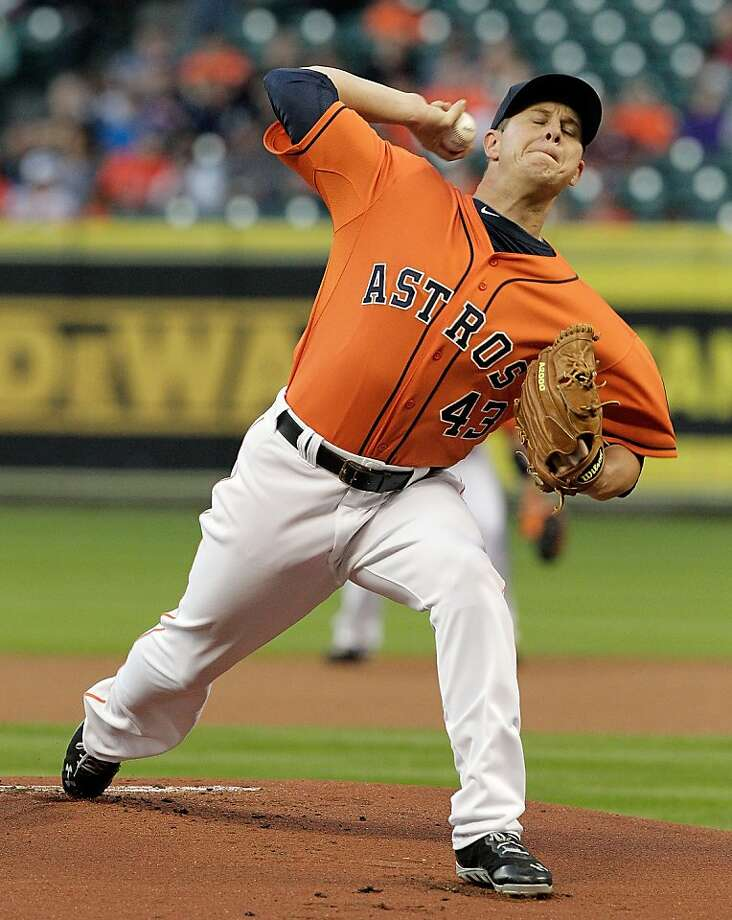 HOUSTON, TX - APRIL 05: Brad Peacock #43 of the Houston Astros pitches against the Oakland Athletics in the first inning at Minute Maid Park on April 5, 2013 in Houston, Texas. (Photo by Bob Levey/Getty Images) Photo: Bob Levey, Getty Images