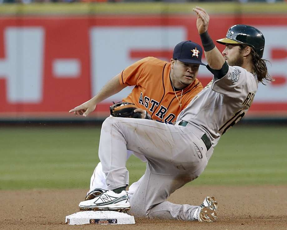 Oakland Athletics' Josh Reddick, right, steals second base despite the effort of Houston Astros' Jose Altuve during the first inning of a baseball game Friday, April 5, 2013, in Houston. (AP Photo/Pat Sullivan) Photo: Pat Sullivan, Associated Press