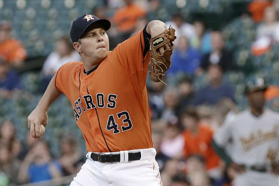 Houston Astros' Brad Peacock delivers a pitch against the Oakland Athletics in the first inning of a baseball game Friday, April 5, 2013, in Houston. (AP Photo/Pat Sullivan) Photo: Pat Sullivan, Associated Press