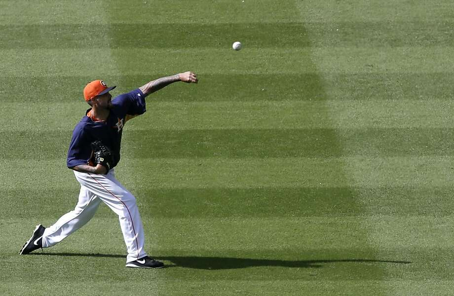 Houston Astros' Travis Blackley warms up before a baseball game against the Oakland Athletics Friday, April 5, 2013, in Houston. (AP Photo/Pat Sullivan) Photo: Pat Sullivan, Associated Press