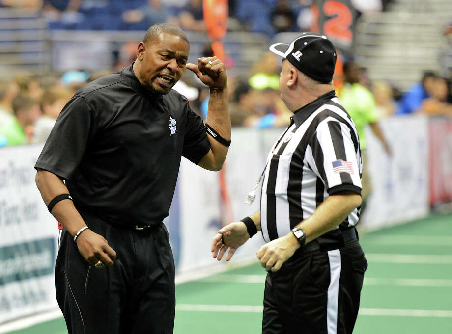 San Antonio Talons' head coach Lee Johnson argues with the referee during an AFL regular season game in the Alamodome, Friday, April 5, 2013.  John Albright / Special to the Express-News. Photo: JOHN ALBRIGHT, San Antonio Express-News / San Antonio Express-News