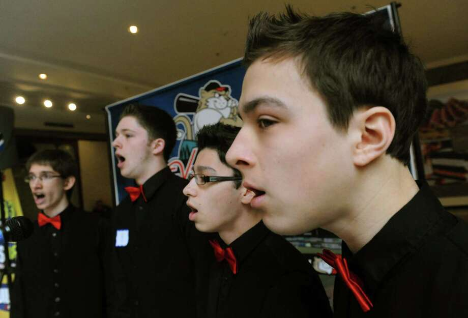 Noteworthy, comprising, from left, Dan Hoke, Brandon D'Angelo, Joshua DeMarco and Eamon Daley, all of Rotterdam, compete in the 3rd Annual National Anthem tryouts hosted at Crossgates Mall on Saturday April 6, 2013 in Guilderland, N.Y.   (Michael P. Farrell/Times Union archive) Photo: Michael P. Farrell