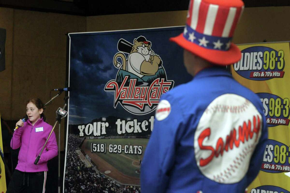 Abagail Mecaragno, 11, of Rensselaer competes in the 3rd Annual National Anthem tryouts hosted by Jaime Roberts from the Jaime in the Morning Show on Oldies 98.3, and Sammy Baseball from the ValleyCats at Crossgates Mall on Saturday April 6, 2013 in Guilderland, N.Y. The judging panel will select four finalists who will be videotaped singing their version of the National Anthem, and then be placed online for fans to vote on a winner. (Michael P. Farrell/Times Union)