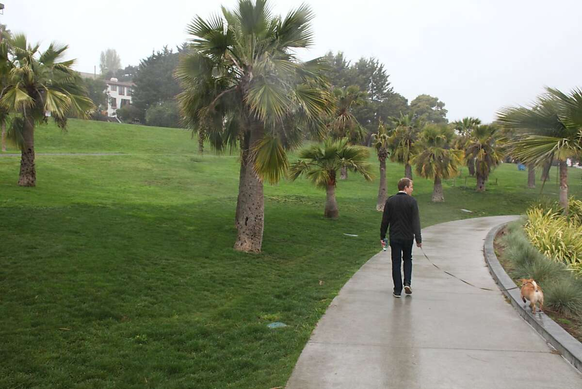 John Nick, walks his dog in the morning at Dolores Park on April 6th 2013. A proposed off-leash dog areas is under scrutiny by the community.