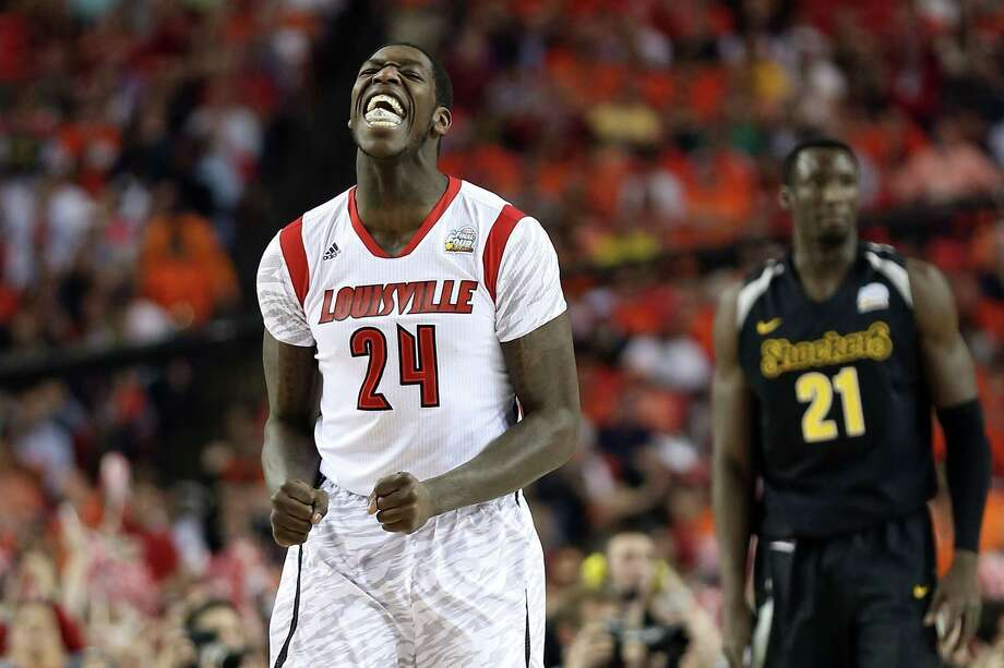 ATLANTA, GA - APRIL 06:  Montrezl Harrell #24 of the Louisville Cardinals reacts in the first half against the Wichita State Shockers during the 2013 NCAA Men's Final Four Semifinal at the Georgia Dome on April 6, 2013 in Atlanta, Georgia. Photo: Andy Lyons, Getty Images / 2013 Getty Images