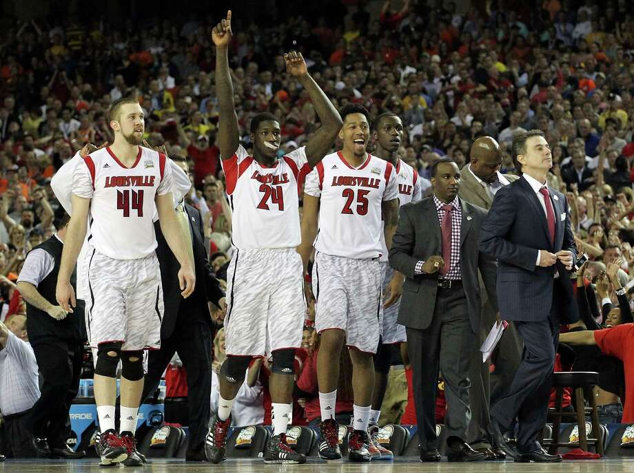 ATLANTA, GA - APRIL 06:  Head coach Rick Pitino of the Louisville Cardinals and the bench celebrate after the Cardinals defeat the Wichita State Shockers 72-68 during the 2013 NCAA Men's Final Four Semifinal at the Georgia Dome on April 6, 2013 in Atlanta, Georgia. Photo: Andy Lyons REMOTE, Getty Images / 2013 Getty Images