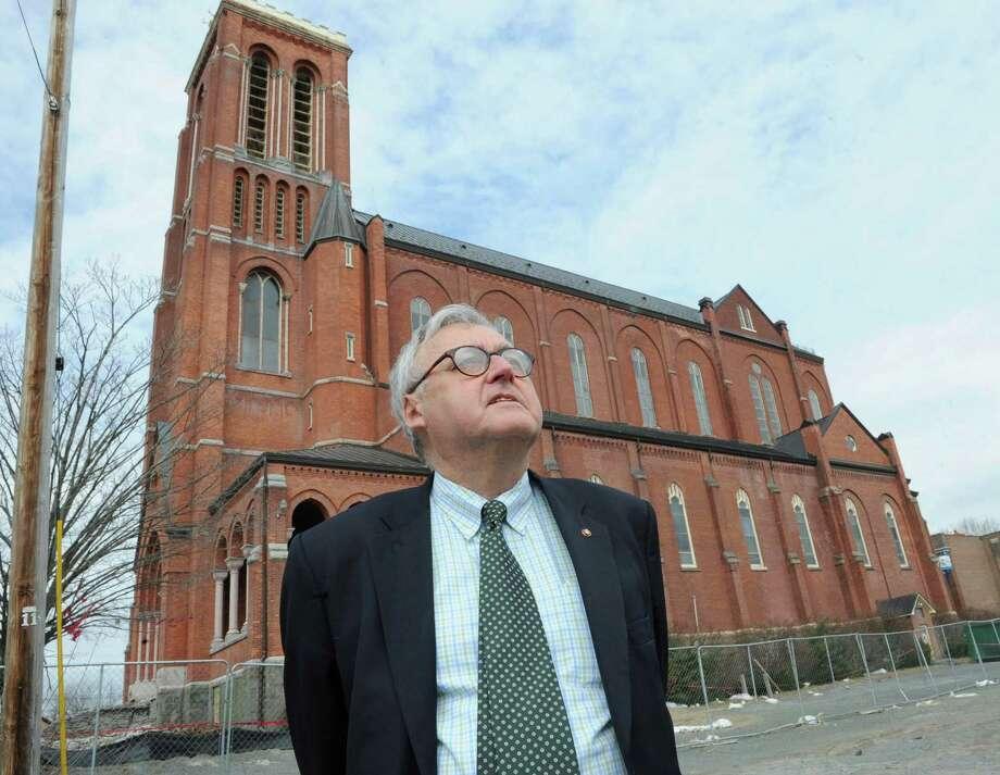 Architect John Waite talks about St. Patrick's church's steel structure on Friday, April 5, 2013 in Watervliet, N.Y. (Lori Van Buren / Times Union) Photo: Lori Van Buren