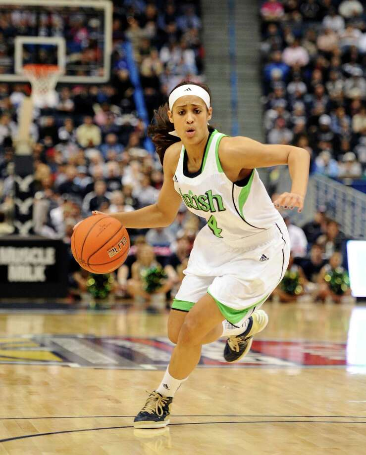Notre Dame's Skylar Diggins in the first half of an NCAA college basketball game in the final of the Big East Conference women's tournament in Hartford, Conn in Hartford, Conn., Tuesday, March 12, 2013. (AP Photo/Jessica Hill) Photo: Jessica Hill, Associated Press / FR125654 AP