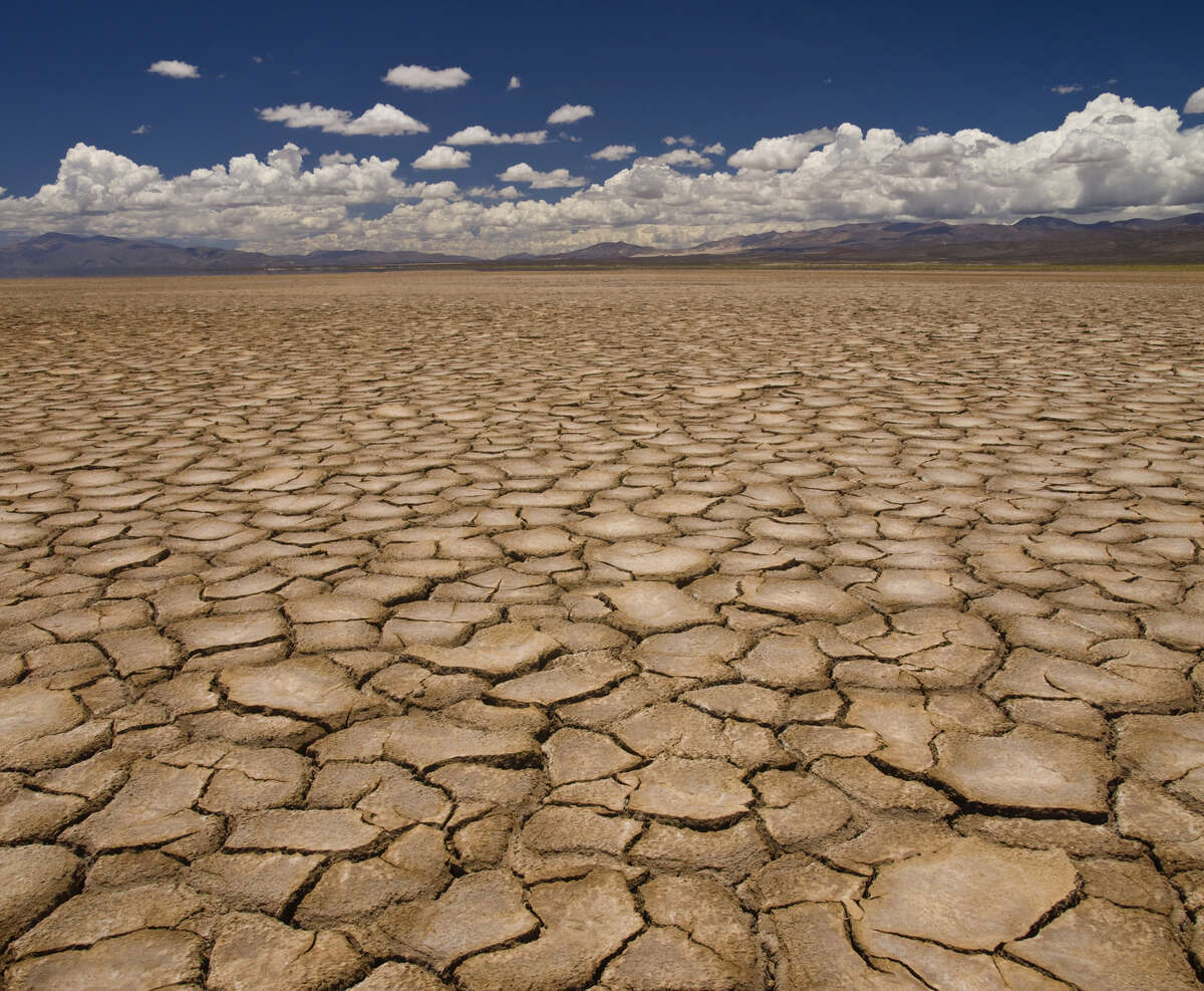 Large field of baked earth after a long drought.