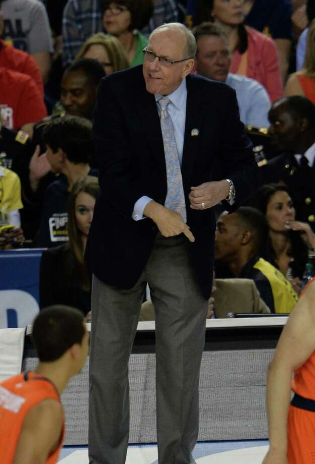 Syracuse head coach Jim Boeheim leads his team against the Michigan Wolverines in the first half in an NCAA Final Four semifinal at the Georgia Dome in Atlanta, Georgia, Saturday, April 6, 2013. (Drew Tarter/MCT) Photo: Drew Tarter, McClatchy-Tribune News Service / MCT