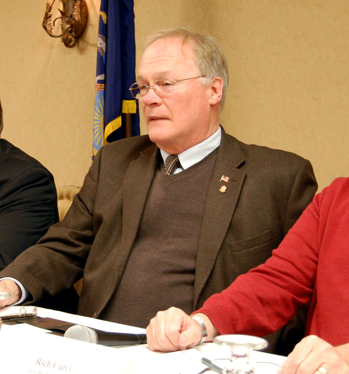 New York State Rifle and Pistol Association President Tom King, center, took questions Wednesday April 3, 2013, during a forum about the SAFE Act in Canandaigua, N.Y. (Jimmy Vielkind/Times Union)