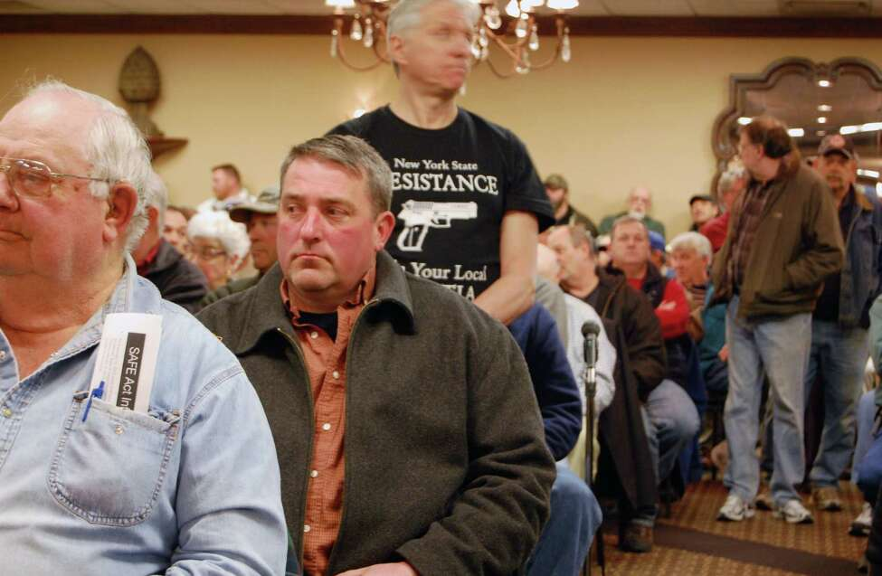 A forum on New York's new gun control law, the SAFE Act, drew a standing-room-only crowd Wednesday evening April 3, 2013, in Canandaigua, N.Y. (Jimmy Vielkind/Times Union)
