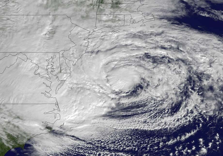 A NOAA satellite image taken Oct. 29, 2012, shows Hurricane Sandy moving north before it veered toward the coast. Photo: Uncredited, HOPD / 2012 AP