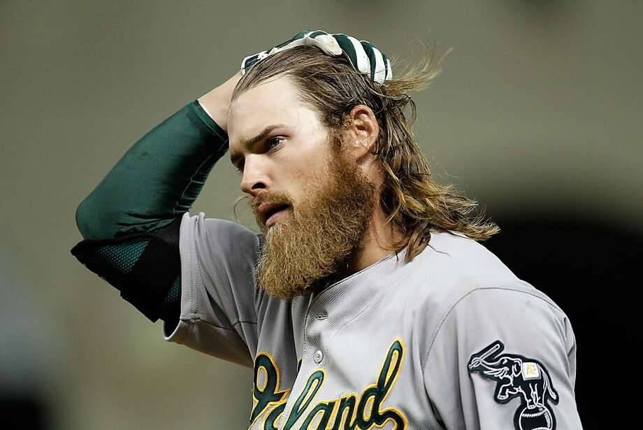 Josh Reddick #16 of the Oakland Athletics reacts after being called out on a close play at first in the ninth inning against the Houston Astros at Minute Maid Park on April 6, 2013 in Houston, Texas. Oakland won 6-3.  (Photo by Bob Levey/Getty Images) Photo: Bob Levey, Getty Images