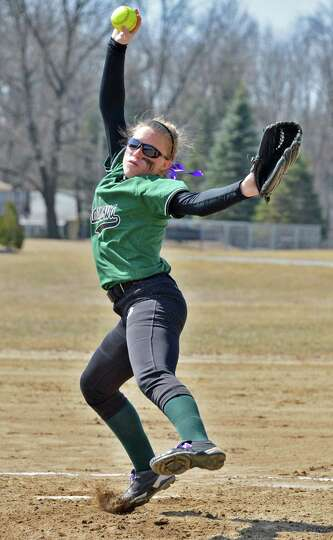 Pitcher Erika Daigle during Shen's game with Saratoga High at Geyser Road Field in Saratoga Springs