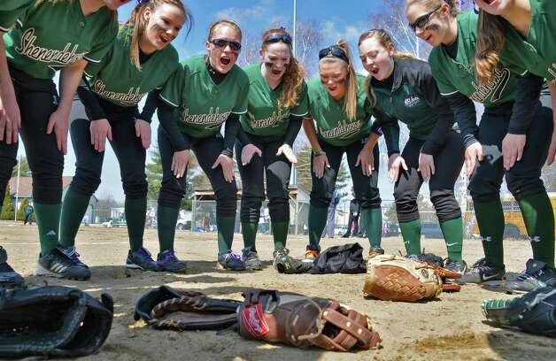 The Shen softball team at the start of their game with Saratoga High at Geyser Road Field in Saratoga Springs Friday April 5, 2013. This was their first game without Dianna Rivers, who was killed in December car crash.  (John Carl D'Annibale / Times Union) Photo: John Carl D'Annibale / 10021862A